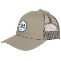 Billabong Walled Trucker Cap Khaki with mesh panel, adjustable snap back, circle logo. Earth Wind Water Surf Shop Isle of Wight UK