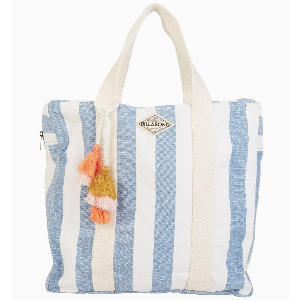Billabong Washed Out Bag French Blue and white stripes beach zip tote tassel holdall holiday summer over shoulder surf trip