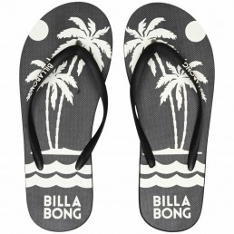 Billabong womens dama flip flops black sunset tropical palm tree print. beach holiday spring summer 2020