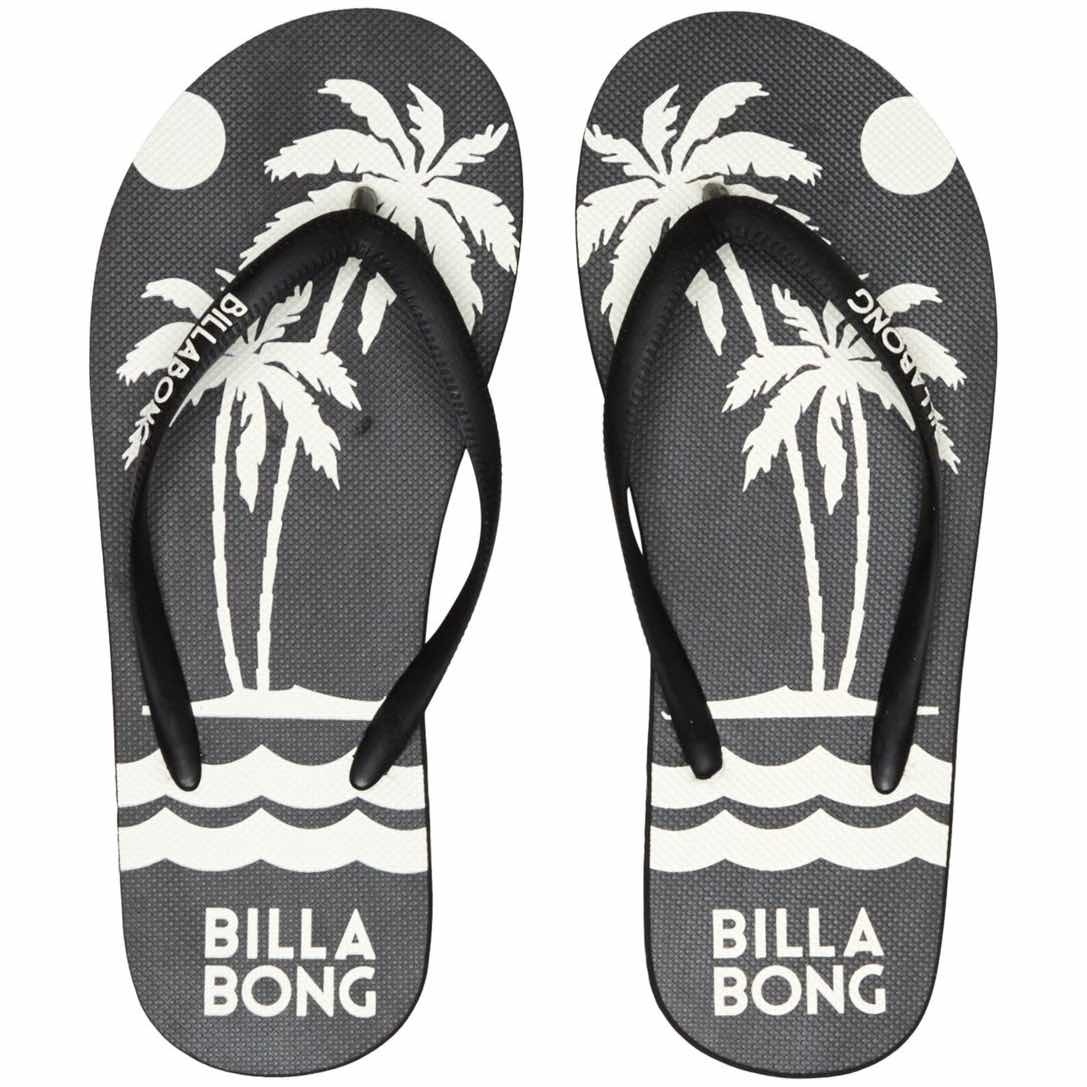 Billabong womens dama flip flops black sunset tropical palm tree print. beach holiday spring summer 2020