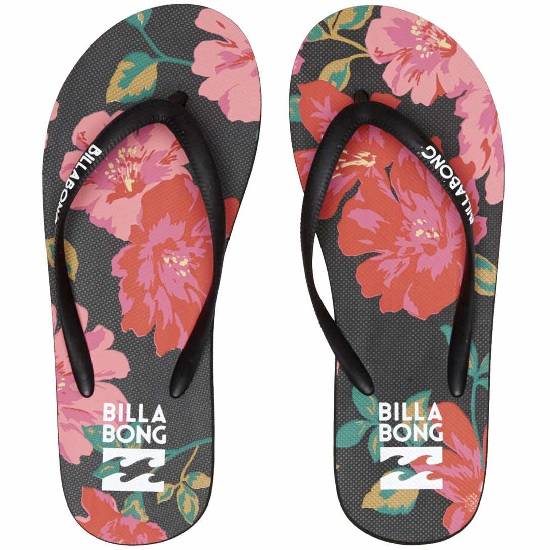 Billabong Dama Flip Flops Magenta Pink Red Floral Tropical womens girls ladies beach holiday summer isle of wight Earth Wind Water surf gear