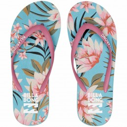Billabong Dama Flip Flops Seafoam blue turquoise pink Floral Tropical womens girls ladies beach holiday summer isle of wight Earth Wind Water surf gear