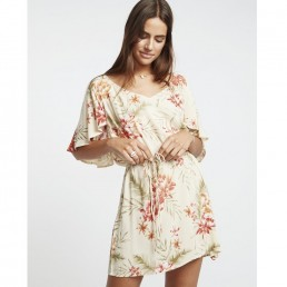 Billabong Fine Flutter Dress Pistachio cream red pink flowers floral backless pretty feminine summer wedding beach holiday evening date romantic tie waist