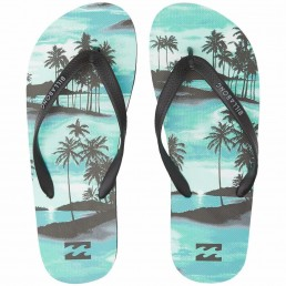 Billabong Tides Sundays Flip Flops Aqua Turquoise Palm Trees Navy
