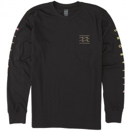 Mens Billabong Unity Long Sleeved T-Shirt Black with screen printed wave logo and writing on sleeves
