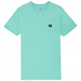 Billabong Stacked TShirt Light Aqua Turquoise Green Blue front pocket new arch logo tee