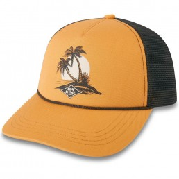 Dakine DK Island Palms Trucker Cap Hat Golden Glow yellow mustard black palm tree sunset desert island. Da Kine Billabong surf brand Isle of Wight island life surfing surfer girl learn to surf iow