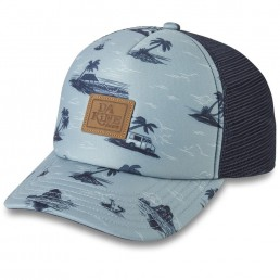 Dakine Lo'Tide Trucker Hat Womens Cap lead oceanfront ocean sea palm low tide cool blue black white mesh back adjustable snap back surf surfer girl IOW
