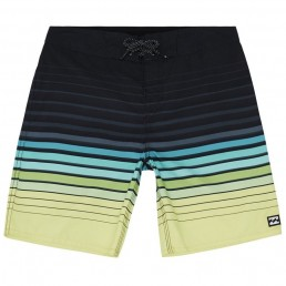 Billabong Boys All Day Stripe Boardshorts Navy Lime blue red gradient 20