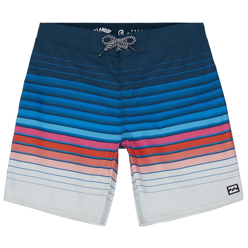 "Billabong Boys All Day Stripe Boardshorts Navy Lime blue red gradient 20"" longer length regular stretch performance fit recycled material quick dry summer beach holiday board shorts"