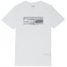 Billabong Inverse Tee Tshirt White grey black heritage surf photography sit side staple logo t-shirt. Inverse logo photo print graphic printed in soft hand ink screen print core fit cotton boy's short sleeve t-shirt