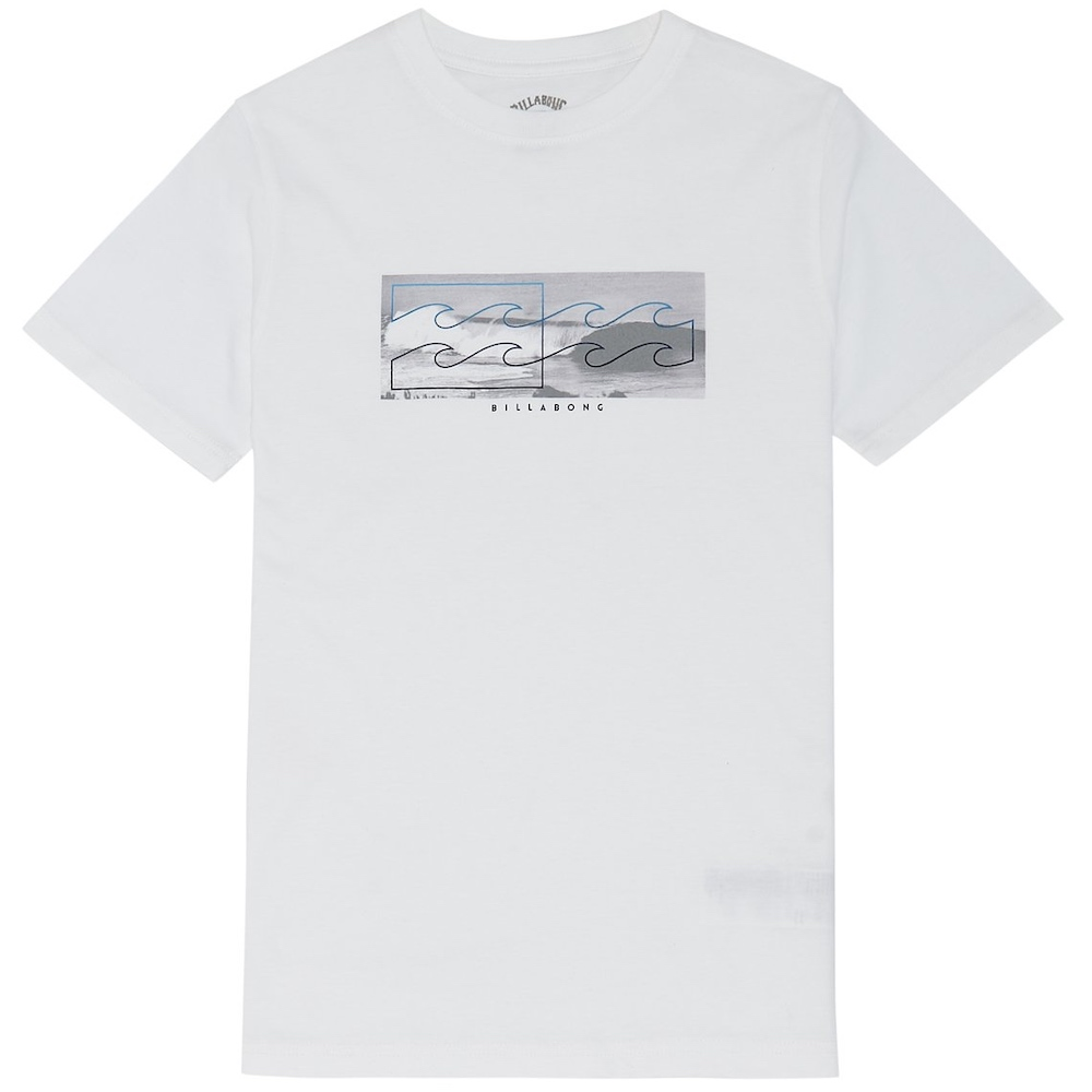 Billabong Inverse Tee Tshirt White grey black heritage surf photography sit side staple logo t-shirt. Inverse logo photo print graphic printed in soft hand ink screen print core fit cotton boy's short sleeve t-shirt