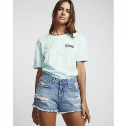 Billabong Drift Away Denim Shorts Indigo Rinse deconstructed worn ripped jean high waist mid rise surf trip beach holiday surfer girl IOW Island vibes earth wind water