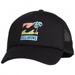 Billabong BBTV Trucker Cap black. Kids boys girls. Palm Tree Wave Logo, Mesh, Adjustable Snap Back