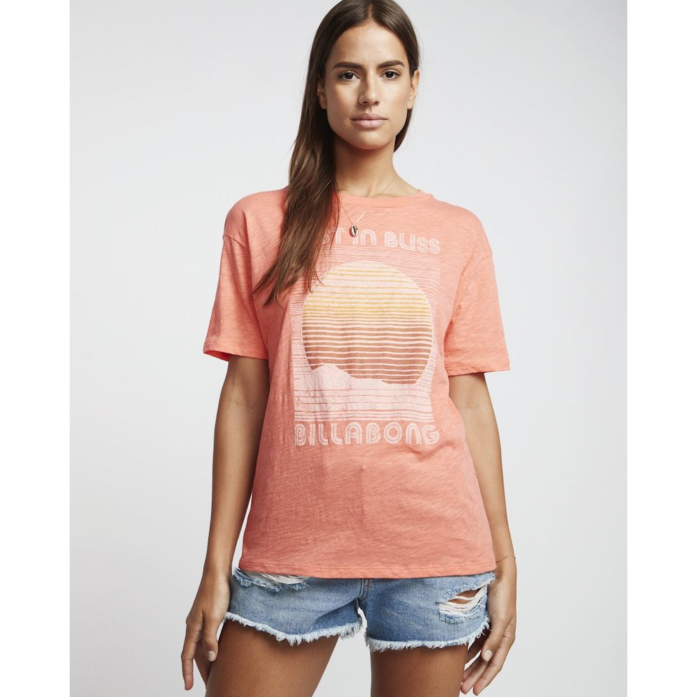 Billabong Lost In Adventure T-Shirt for Women Tee Top Coral Kiss sunset graphic over sized boy boyfriend fit. spring summer holiday beach cotton surf surfer girl Island IOW UK