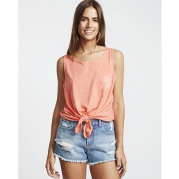 Billabong Summer Only Tie Front Tank Top Coral Kiss. Beach sand sea surf isle of wight island vibes casual holiday chill