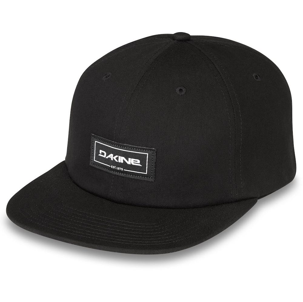 Da Kine Dakine DK Mission snapback adjustable Ball Cap Ballcap Black flat brim woven label trucker hat mens womens kids unisex