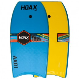 Hoax AX01 Bodyboard Light Blue Yellow leash slick bottom reinforced Isle of Wight UK delivery New Alder Force