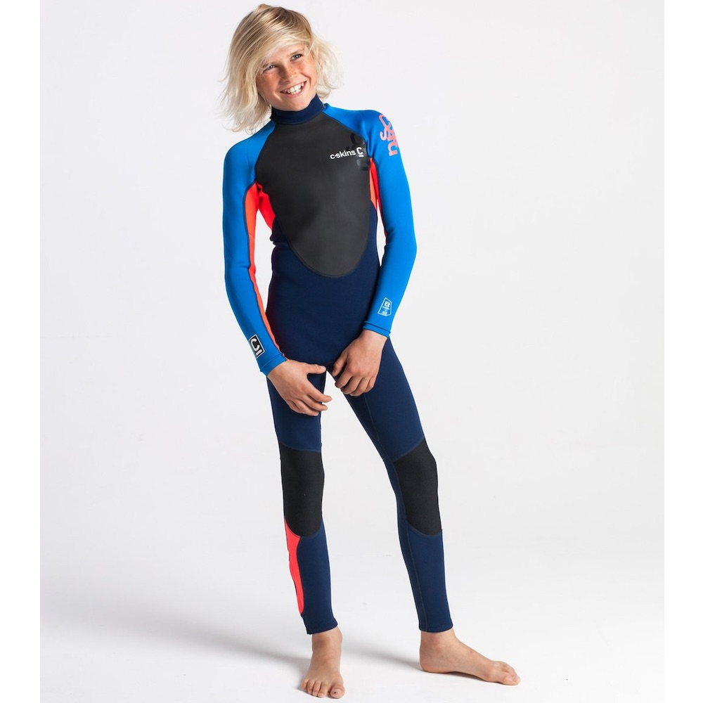 C-Skins Element 3/2mm Junior Wetsuit. The Element series brings legendary C-Skins fit, warmth and technology to those starting their journey of life in the water. Navy blue cyan red orange lime coral full long spring summer autumn
