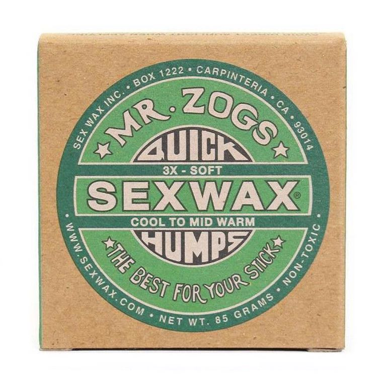 Sex Wax Quick Humps Cool to Warm Green. Plastic free recyclable packaging cardboard box. Cold water surfing Shanklin Freshwater Compton Isle of Wight, UK Earth Wind Water surf gifts surfing present cheap deal