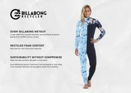 Billabong Recycler Wetsuits - sustainability, upcycle, water based adhesive. Save our seas