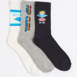 Rip Curl 3 pack crew socks. Perfect gift, christmas, xmas, birthday, men women teenager