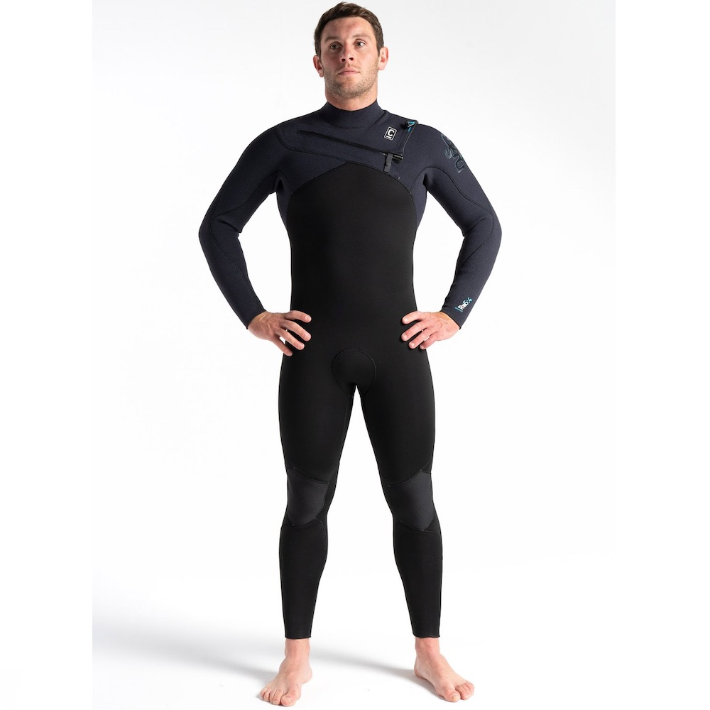C-Skins new 2021 ReWired 5/4mm winter steamer wetsuit. Halo X Neoprene. Cold water surfing Isle of Wight, UK