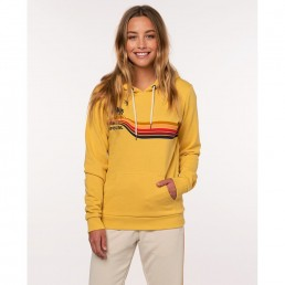 RipCurl Gold Beach Hooded Jumper Yellow mustard palm tree print. Hoody hoodie