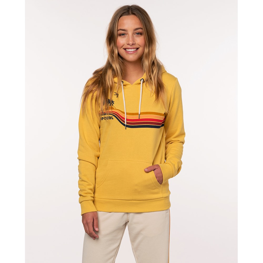 RipCurl Gold Beach Hooded Jumper Yellow mustard palm tree print. Hoody hoodie