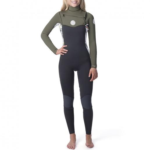 Womens Rip Curl Dawn Patrol 5/3mm steamer winter wetsuit, white green