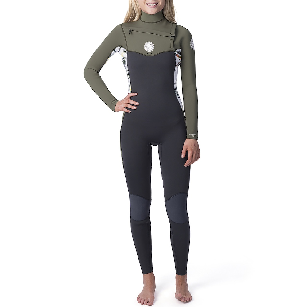 Womens Rip Curl Dawn Patrol 5/3mm steamer winter wetsuit, white green