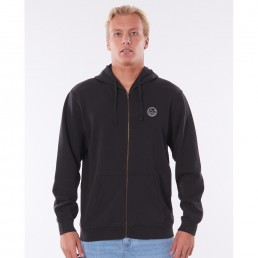 Rip Curl Original Surfer Hoody Black zip thru hooded fleece, zipped through