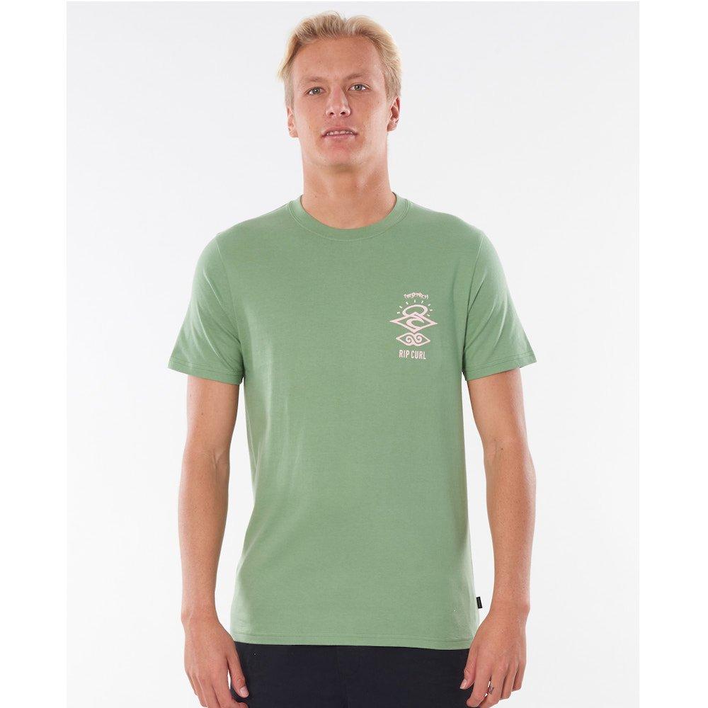 Ripcurl men's tshirt organic surf wear. The Search logo tee, frost green