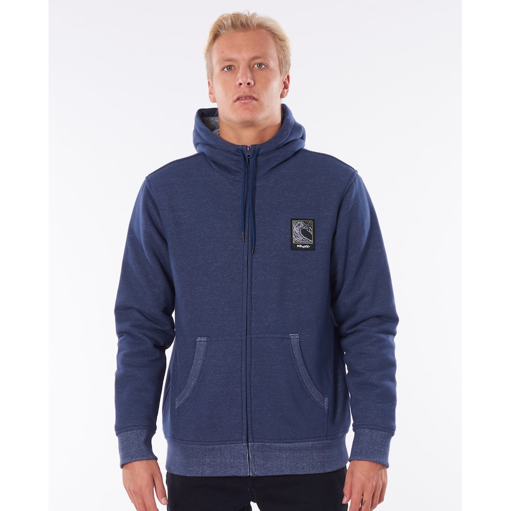 Rip Curl Agile Navy blue hoody, zip hooded fleece hoodie