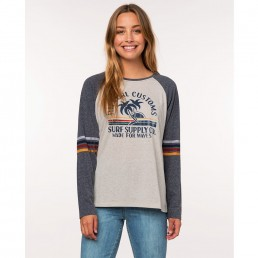 Rip Curl Customs Long Sleeve Tee. Raglan style grey off white