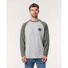 Rip Curl Long Sleeve T-shirt grey cement green raglan
