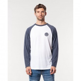 Rip Curl Long Sleeve T-shirt white navy blue raglan