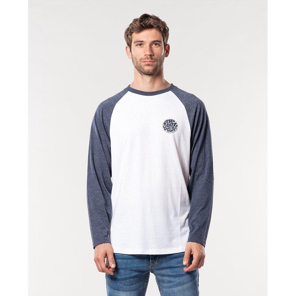 Rip Curl Long Sleeve T-shirt white navy blue raglan