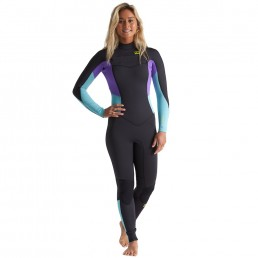 Billabong Synergy Furnace Back Zip Blue Lagoon turquoise purple black Mermaid 3/2 spring summer stretchy comfortable warm good tech womens ladies girls who surf surfing uk isle of wight cornwall devon Pembrokeshire gower wales bournemouth