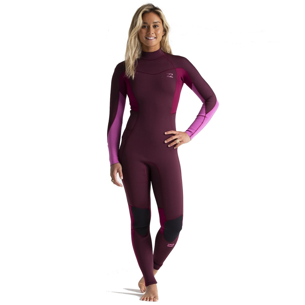 Billabong Synergy Furnace Back Zip Maroon pink red 3/2 spring summer stretchy comfortable warm good tech womens ladies girls who surf surfing uk isle of wight cornwall devon Pembrokeshire gower wales bournemouth