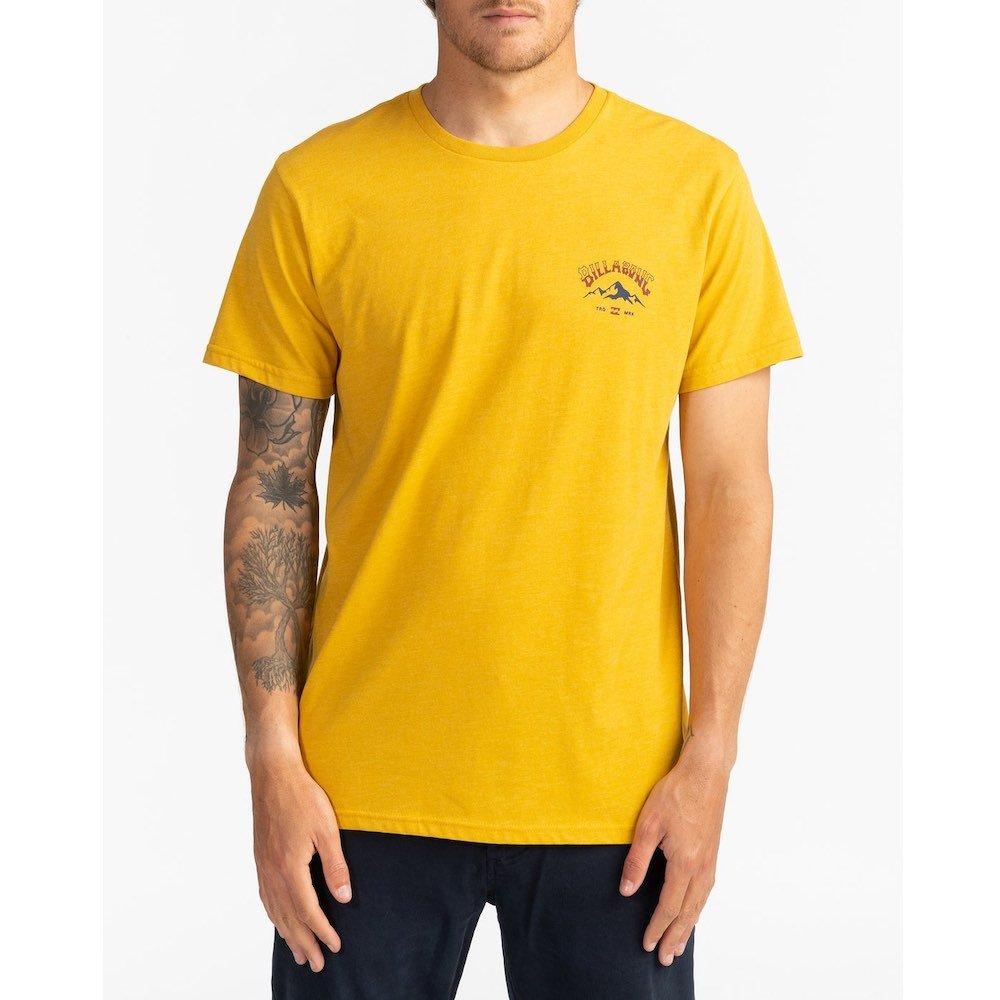 Billabong new mens arch peak tshirt mustard yellow back print