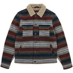 Billabong Barlow Sherpa Jacket Navy stripe. Warm fleece lined wool blend mens collar jacket two pockets