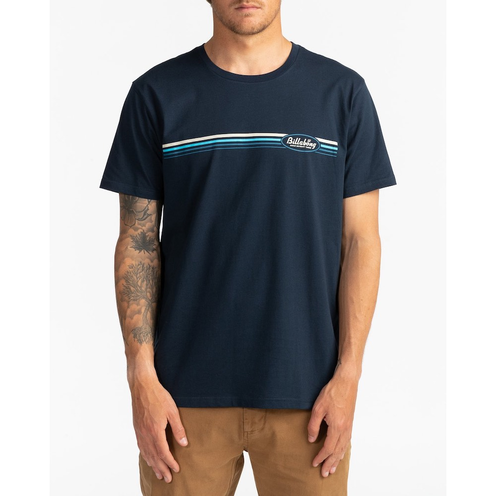 Billabong mens tshirt navy stripe surf wear surfers isle of wight uk