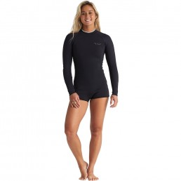Billabong Spring Fever Long Sleeved Short leg wetsuit. Best cool flattering design for women girl ladies surfers surfing swimming isle of wight south coast uk