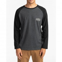 Billabong raglan long sleeved tshirt black grey back print. New pacific tee
