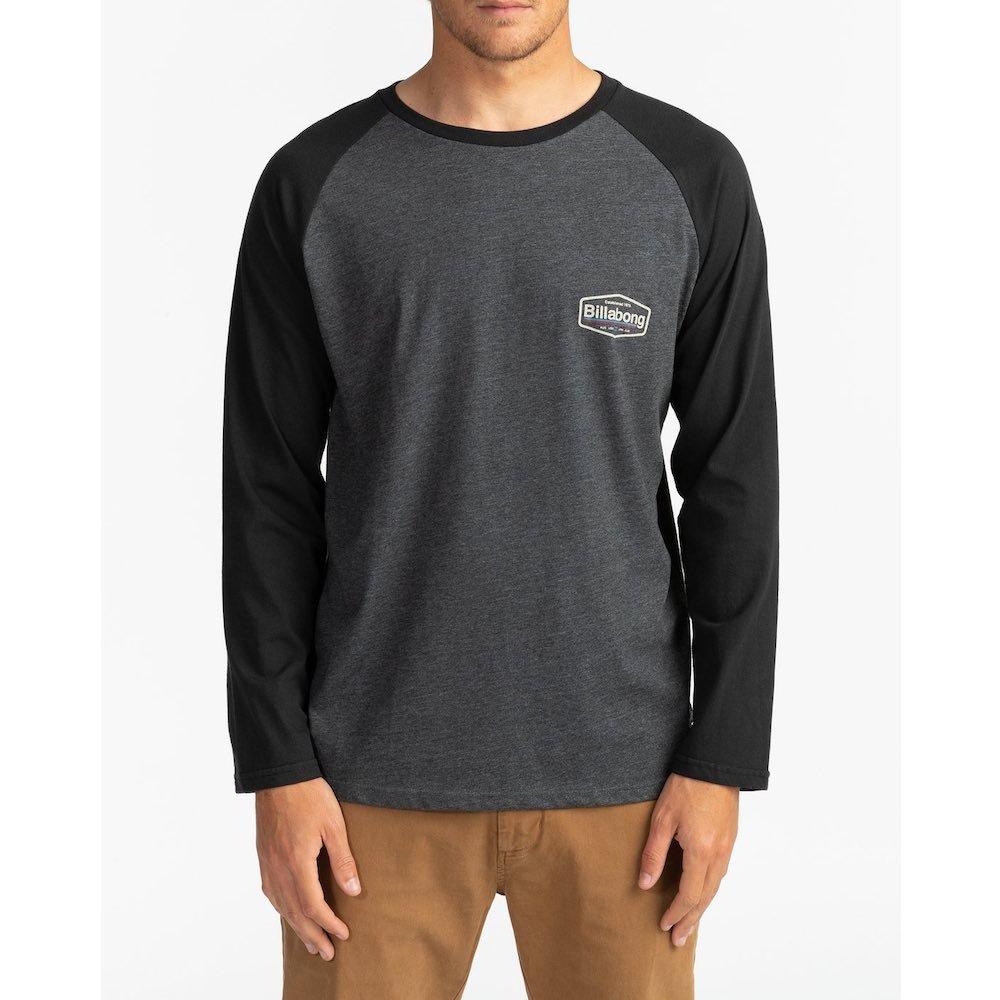 Billabong raglan long sleeved tshirt black grey back print. New pacific tee