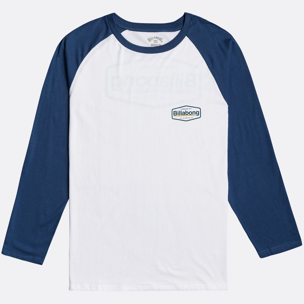 Billabong raglan long sleeved tshirt denim blue white contrast with back print. New pacific tee