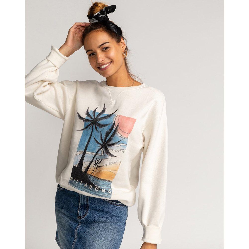 Billabong womens ladies sweater crew sweatshirt jumper, cream off white, tropical island paradise la palma palmada iow surfing surf clothes