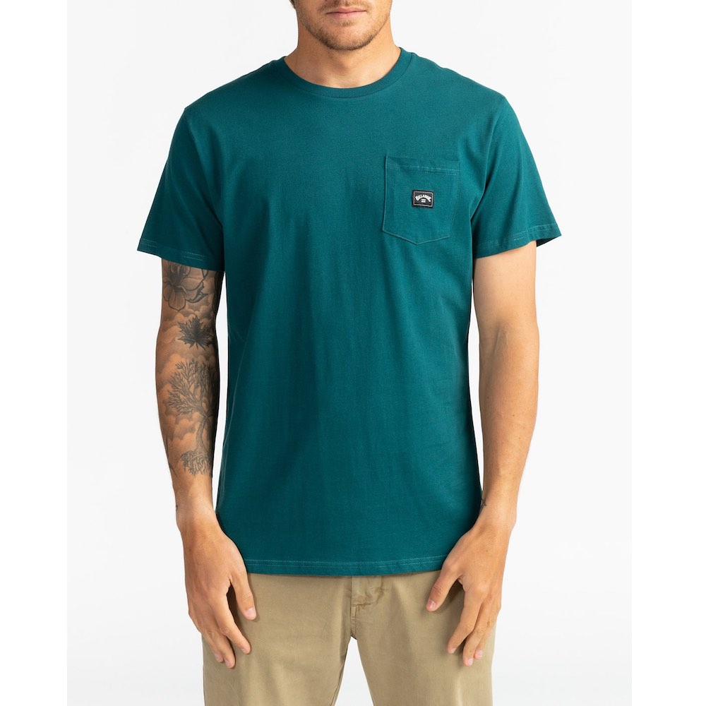 Billabong mens tshirt, pocket detail, deep teal green, subtle logo, cool clean lines smart casual clothes for surfers. Isle of Wight, South Coast UK