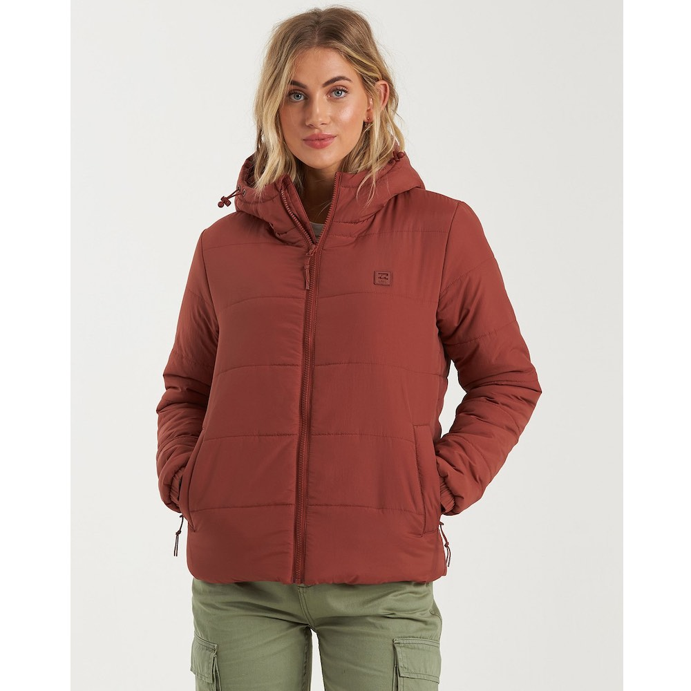 Billabong womens transport puffer jacket chestnut red dark black warm water resistant pockets padded lightweight